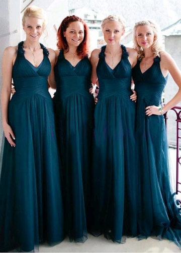 Charming Tulle Halter Neckline Floor-length A-line Bridesmaid Dresses With Beaded Handmade Flowers