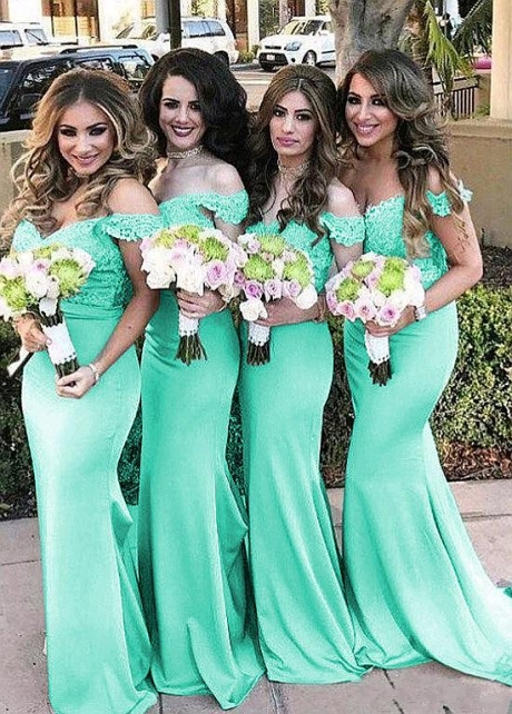 Glamorous Satin Off-the-shoulder Neckline Bridesmaid Dresses With Lace Appliques