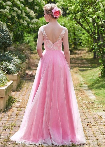 Exquisite Lace & Tulle V-neck Neckline Floor-length A-line Bridesmaid Dresses
