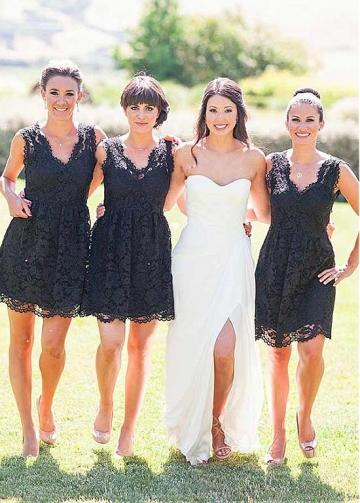 Graceful Lace V-neck Neckline Short A-line Bridesmaid Dress