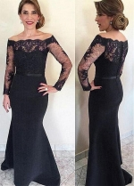 Exquisite Lace & Satin Off-the-shoulder Neckline Mermaid Mother Of The Bride Dress With Lace Appliques & Belt
