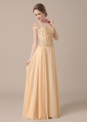 Elegant Lace & Chiffon Jewel Neckline Full-length A-line Mother of The Bride Dresses
