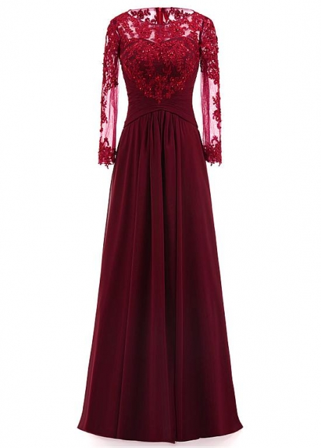 Modest Tulle & Chiffon Scoop Neckline Full Length A-line Mother Of The Bride Dresses With Beaded Lace Appliques