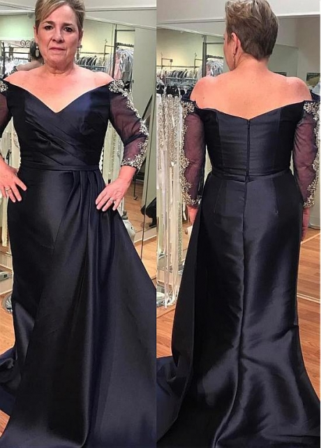 Charming Satin Off-the-shoulder Neckline Sheath/Column Mother Of The Bride Dress With Beadings & Belt