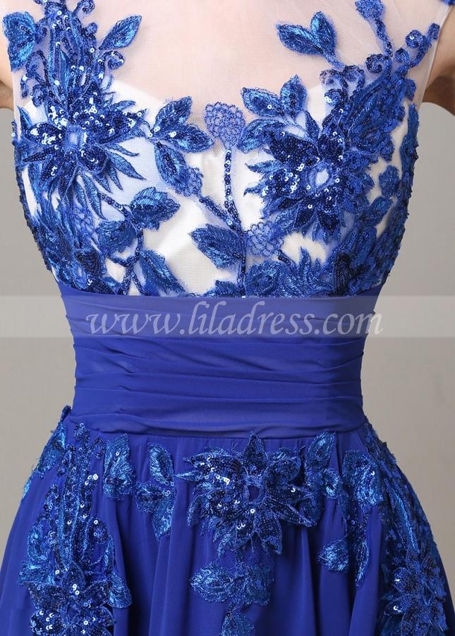 Chic Tulle & Chiffon Illusion Neckline Floor-length A-line Prom Dress