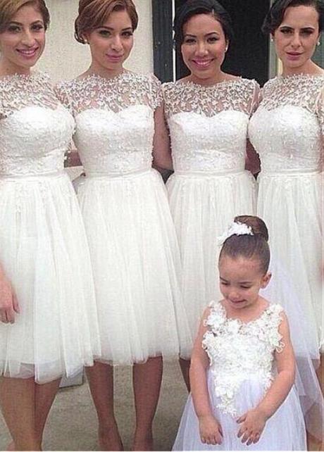 Glamorous Tulle & Lace Bateau Neckline A-line White Bridesmaid Dresses