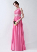 Elegant Chiffon One Shoulder Neckline A-line Prom Dresses With Beadings