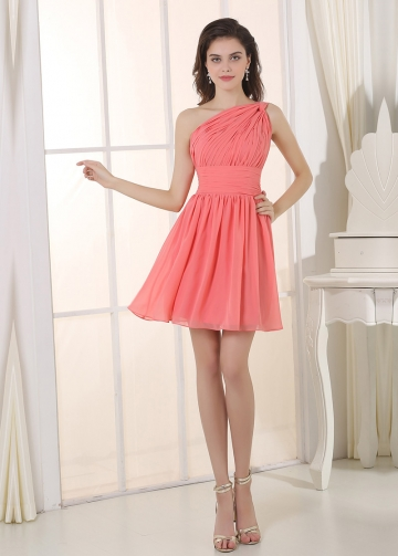 Lovely Chiffon One Shoulder Neckline Short A-line Bridesmaid Dress