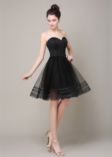 Lovely Tulle Sweetheart Neckline Knee-length A-line Bridesmaid / Cocktail Dress
