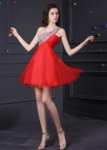 Charming Organza & Satin One Shoulder Neckline A-Line Homecoming Dresses