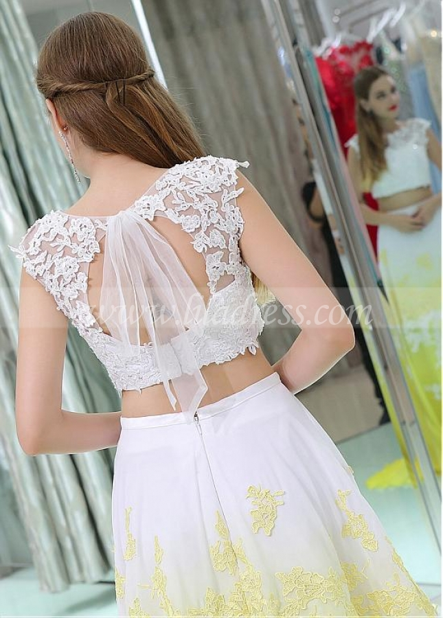 Unique Tulle & Chiffon Jewel Neckline Cut-out A-line Two-piece Prom Dresses With Beaded Lace Appliques