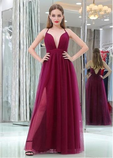 Modern Tulle Spaghetti Straps Neckline Floor-length A-line Prom Dress