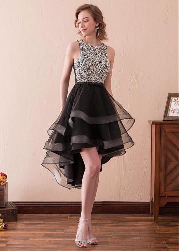 Stunning Tulle Jewel Neckline Hi-lo A-line Homecoming Dress With Rhinestones & Beadings