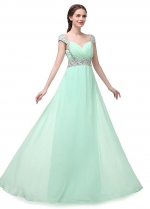 Stunning Chiffon Sweetheart neck Neckline A-line Prom Dresses With Beadings