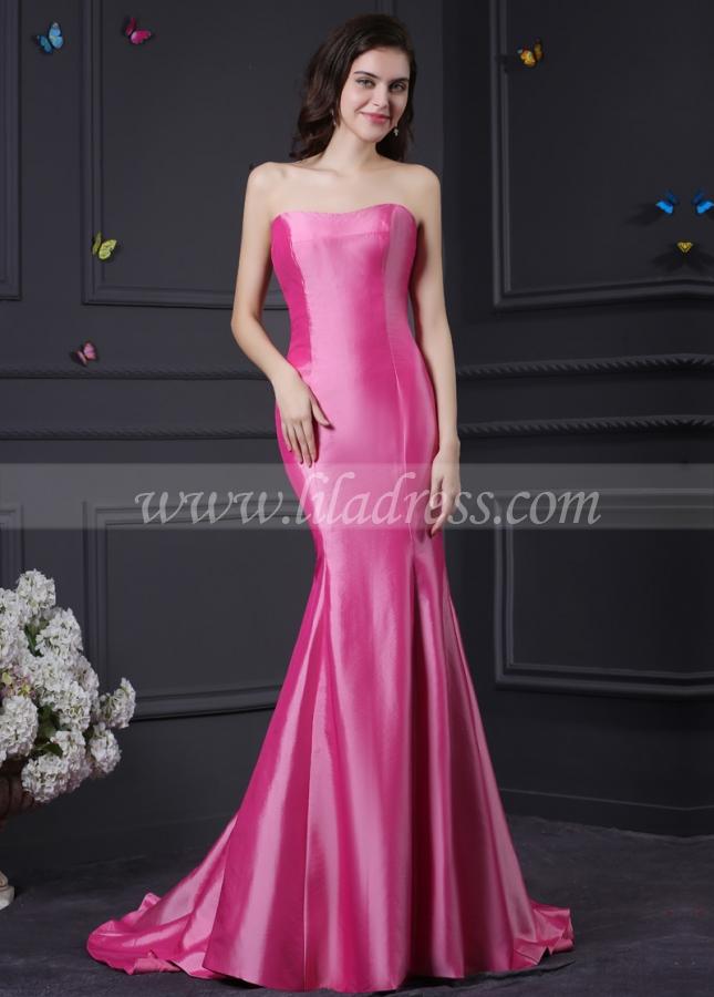 Alluring Taffeta Strapless Neckline Mermaid Prom Dresses