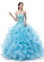 Alluring Tulle Sweetheart Neckline A-line Quincenera Dresses With Beadings