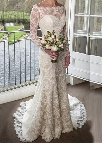 Elegant Lace Off-the-shoulder Neckline Natural Waistline Mermaid Wedding Dress