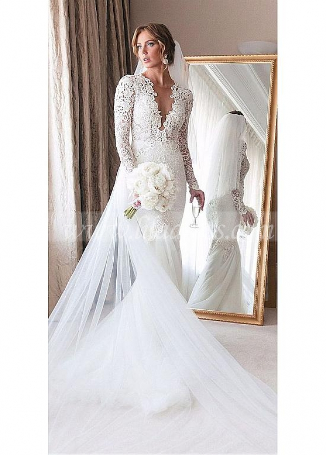 Charming Tulle & Lace Jewel Neckline Mermaid Wedding Dresses With Beaded Lace Appliques