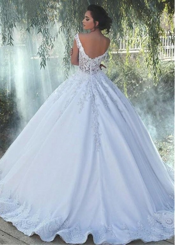 Alluring Tulle Sweetheart Neckline A-line Wedding Dress With Lace Appliques & Beadings