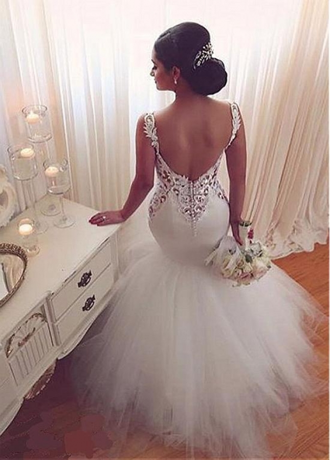 Fashionable Tulle & Satin Sweetheart Neckline Mermaid Wedding Dress With Lace Appliques