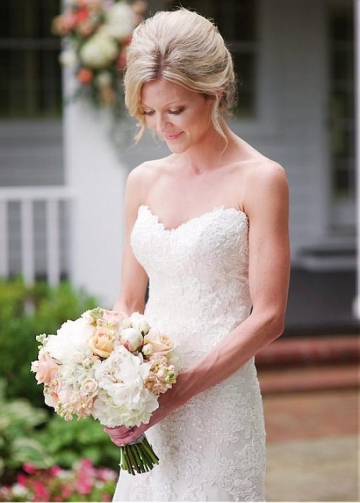 Fantastic Tulle Sweetheart Neckline Natural Waistline Mermaid Wedding Dress With Lace Appliques & Sequins