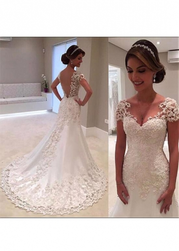 Stunning Tulle & Satin V-neck Neckline A-line Wedding Dress With Beaded Lace Appliques