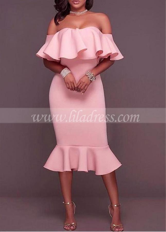 Fashionable Spandex Off-the-shoulder Neckline Tea-length Mermaid Cocktail Dresses