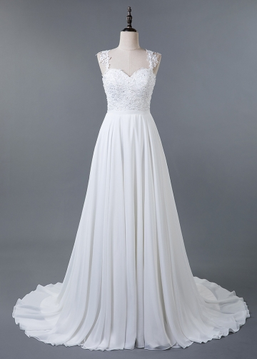 Fabulous Tulle & Chiffon Sweetheart Neckline A-line Wedding Dress With Lace Appliques & Beadings