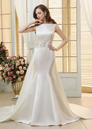 Chic Satin Bateau Neckline Mermaid Wedding Dresses