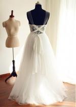Exquisite Tulle Scoop Neckline A-line Wedding Dresses With Lace Appliques & Belt