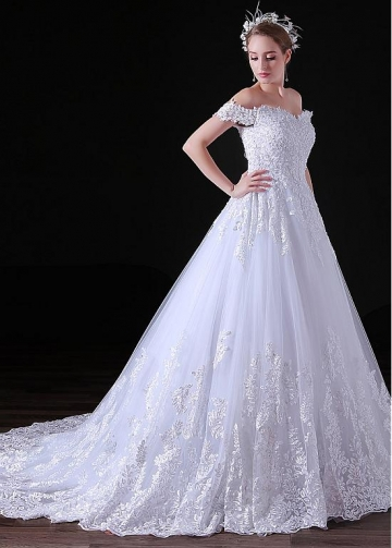 Gorgeous Tulle Off-the-shoulder Neckline Floor-length A-line Wedding Dresses With Beaded Lace Appliques
