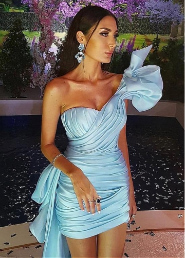 Alluring Skyblue One Shoulder Neckline Short Sheath/Column Cocktail Dress