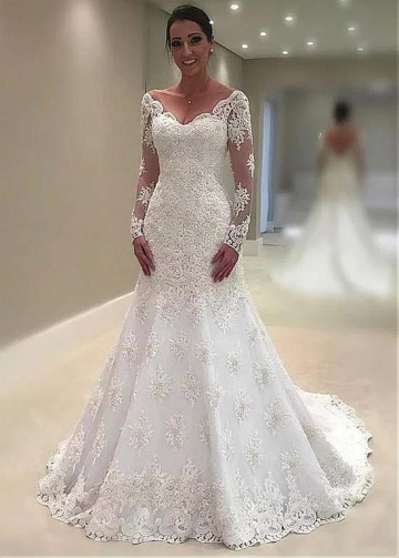 Modest Tulle V-neck Neckline Mermaid Wedding Dresses With Beaded Lace Appliques