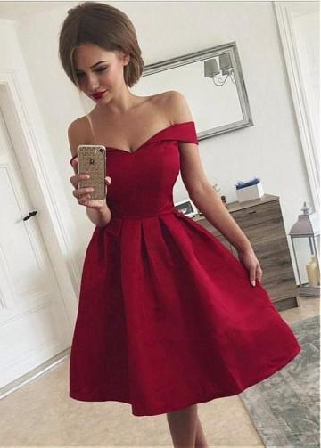 Chic Satin Off-the-shoulder Neckline Knee-length A-line Homecoming Dress