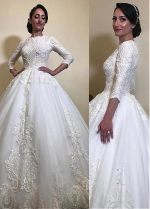 Modern Tulle Jewel Neckline Ball Gown Wedding Dresses With Beaded Lace Appliques
