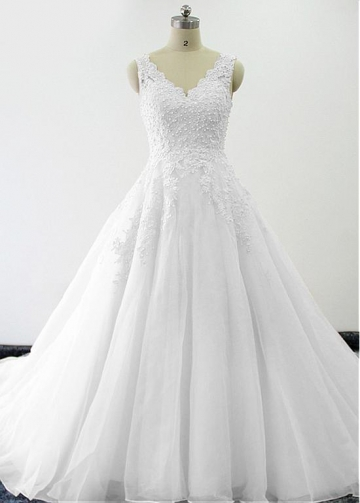 Elegant Tulle & Oragzna V-neck Neckline A-line Wedding Dresses With Beaded Lace Appliques