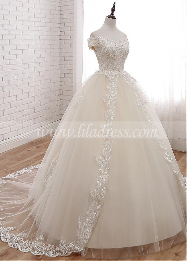 Attractive Tulle Off-the-shoulder Neckline Ball Gown Wedding Dress With Lace Appliques & Beadings