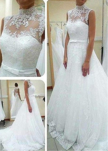 Graceful Tulle Illusion High Collar Natural Waistline A-line Wedding Dress With Lace Appliques & Belt