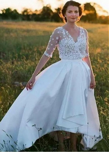 Romantic Tulle & Satin V-neck Neckline Hi-lo A-line Wedding Dress With 3D Flowers & Beadings