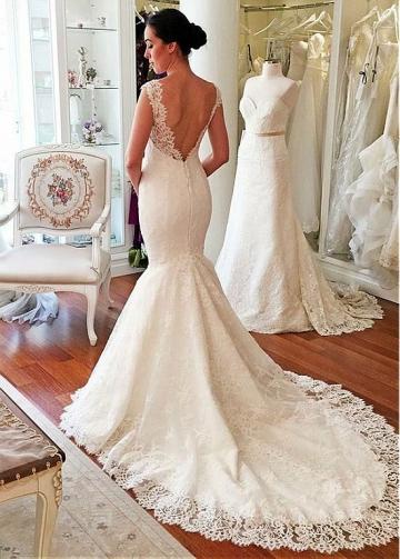 Gorgeous Lace V-neck Neckline Natural Waistline Mermaid Wedding Dress