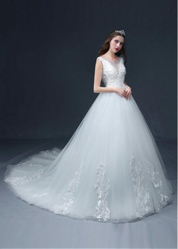 Fascinating Tulle Bateau Neckline A-line Wedding Dress With Lace Appliques & Beadings