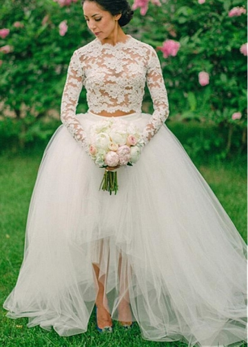 Fashionable Lace & Tulle Jewel Neckline See-through Two-piece Hi-li Ball Gown Wedding Dress