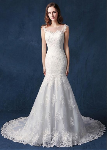 Glamorous Tulle Jewel Neckline Natural Waistline Mermaid Wedding Dress With Lace Appliques & Beadings