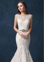 Elegant Tulle Jewel Neckline Natural Waistline Mermaid Wedding Dress With Lace Appliques & Belt
