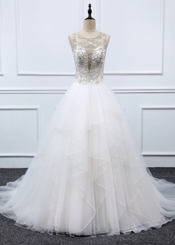 Fantastic Tulle & Organza Jewel Neckline A-line Wedding Dress With Beaded Embroidery & Ruffles