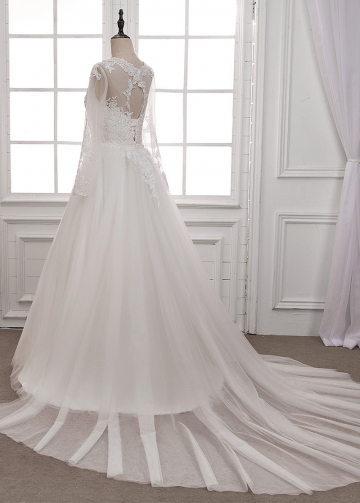 Marvelous Tulle Jewel Neckline A-line Wedding Dress With Beaded Lace Appliques
