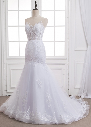 Attractive Tulle Sheer Jewel Neckline See-through Mermaid Wedding Dress With Beaded Lace Appliques