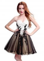 Graceful Tulle Sweetheart Neckline Short-length A-line Homecoming Dresses With Lace Appliques