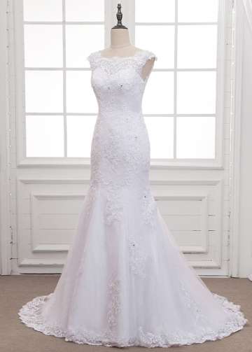 Glamorous Lace & Tulle Bateau Neckline Mermaid Wedding Dress With Lace Appliques & Beading
