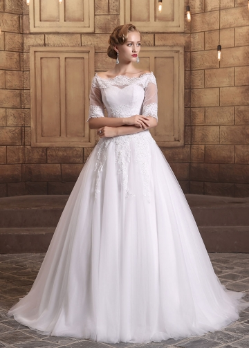 Elegant Tulle Off-the-shoulder Neckline A-line Wedding Dresses With Detachable Jacket